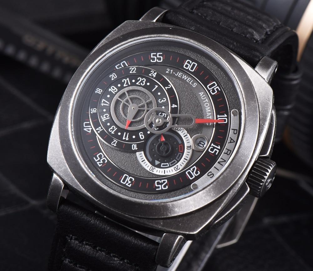 2016 Venta Caliente 43mm Parnis Automático Dial Negro Reloj de Plata - Relojes para hombres - foto 3