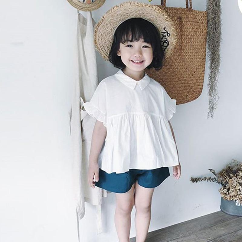 DFXD 2018 Summer Korean Style Toddler Girls Clothes White Short Petal Sleeve Turn Down Collar Shirt+Shorts 2pc Clothing Set 2-7Y
