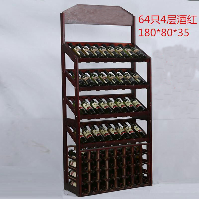 Aliexpress.com : Buy 64 Bottles Pine Wood Wine Rack Shelf Thicken And  Higher Red Wine Holder Cabinet Display Stand Vertical Wine Storage From  Reliable Wine ...