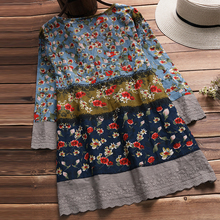 2018 Women Autumn Blouse Vintage V Neck 3/4 Sleeve Boho Floral Printed Loose Flower Shirt Female Cotton Linen Lace Patchwork Top