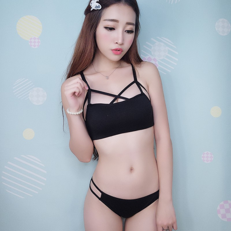 Women Sexy Bandage Cross Strappy Bra Bustier Bralette font b Fitness b font Bra Set Top
