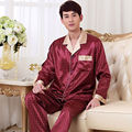 New Fashion Burgundy Long Sleeve Mens Satin Slik Sleepwear Pajamas Sets Button Sleep Tops and Pants Bottoms QM06