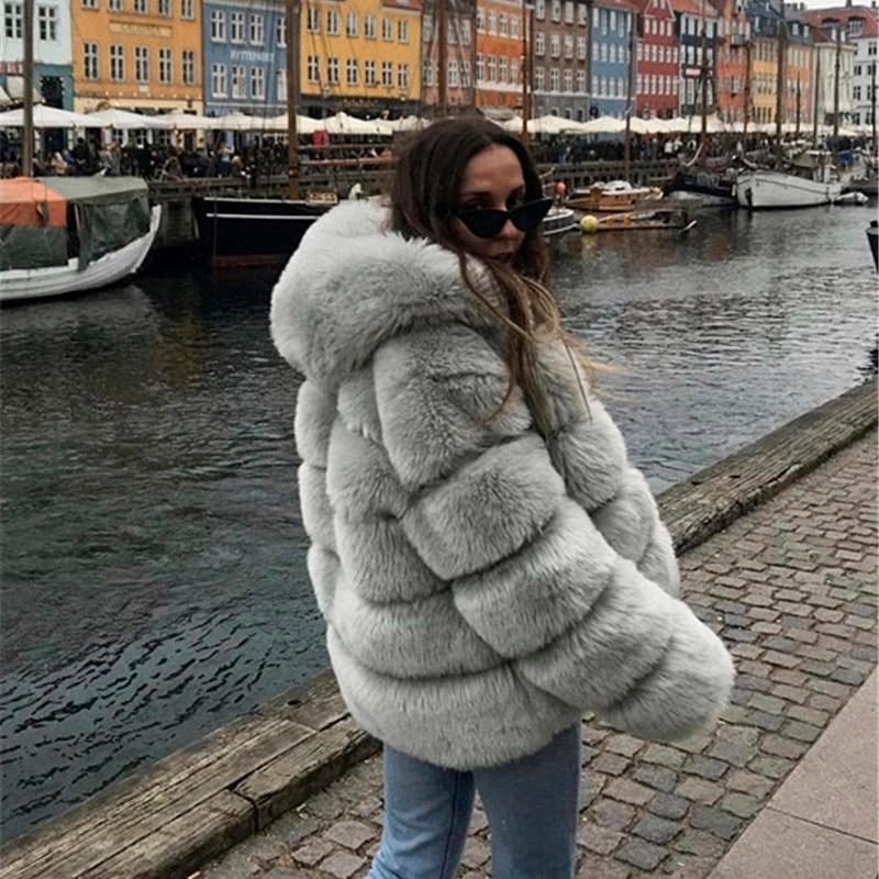 Зимнее плотное теплое пальто из искусственного меха женская куртка с капюшоном и длинным рукавом из искусственного меха Роскошные зимние меховые пальто bontjas