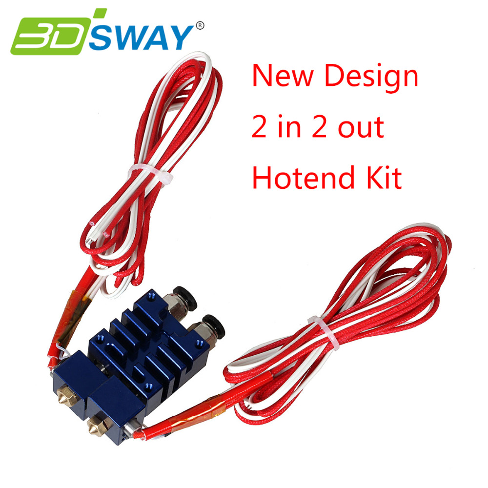 3DSWAY 3D Printer Parts Improved E3D Chimera 2 In 2 Out Hotend Kit with Thermistor and Cartridge Heater Blue Color 0.4mm/1.75mm
