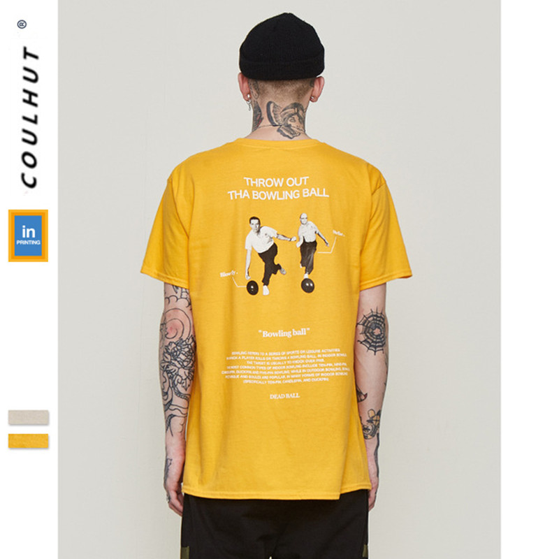 2019 SS Skateboard Throw Out Tha Bowing Ball T Shirt Streetwear Casual Short Sleeve Cotton Tees Fitness Men Gold Sand Color Tees
