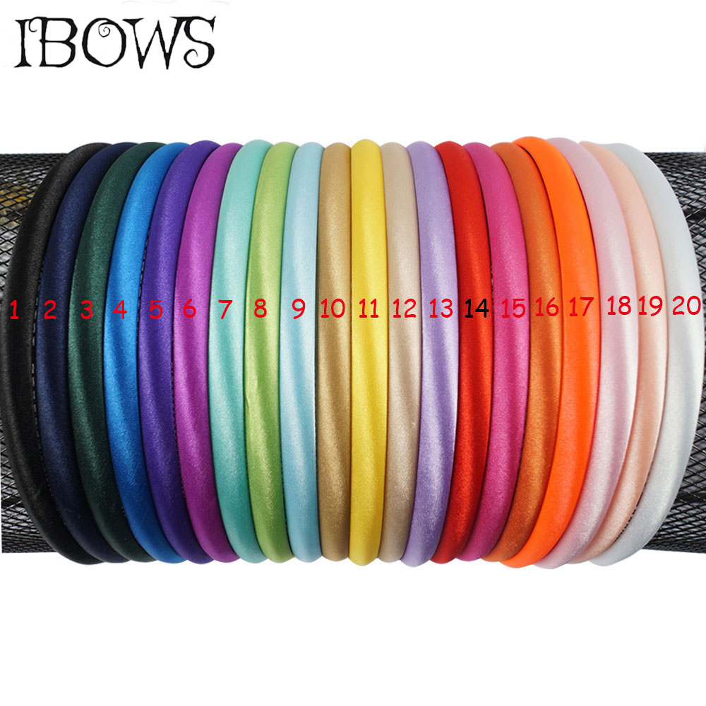 20Pcs/lot Solid Satin Covered Headband 10mm Adult Kids Handmade Hair Bands For Girls DIY   Headwear   Hair Accessories