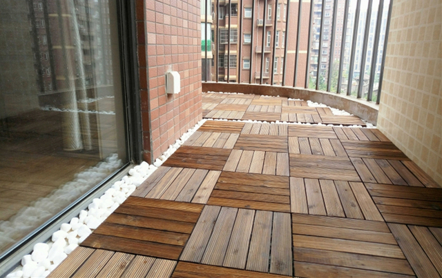 24pieces Wood Carpet Balcony Floor Decking Outdoor Carbonized