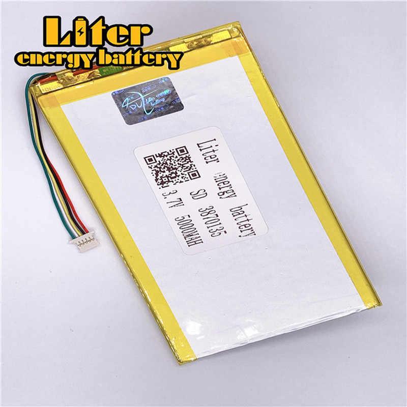 1.0MM 5pin connecteur personnalisé 3.7 V 3870135 5000mah li-polymère batterie li polymère tablette PC batterie