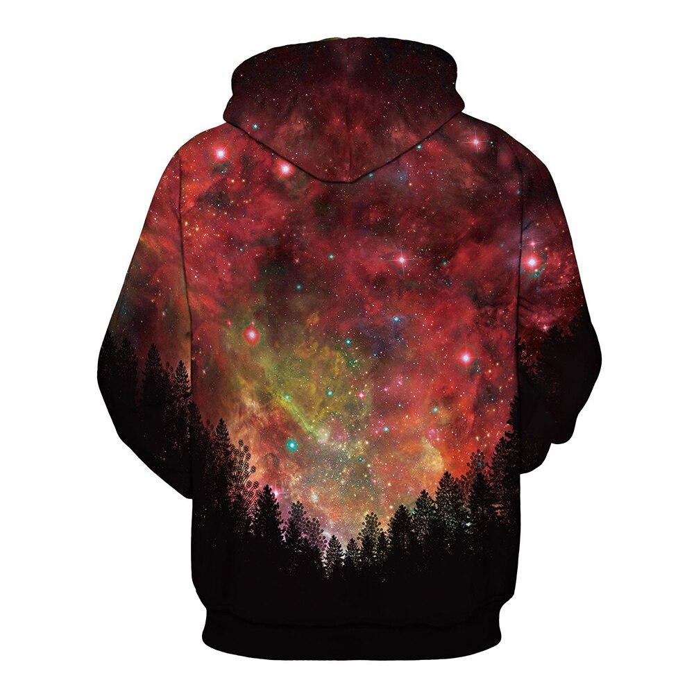 Красный звездное небо толстовка с капюшоном Для мужчин Повседневное спортивный костюм с капюшоном на молнии плюс Размеры Для мужчин S толст...
