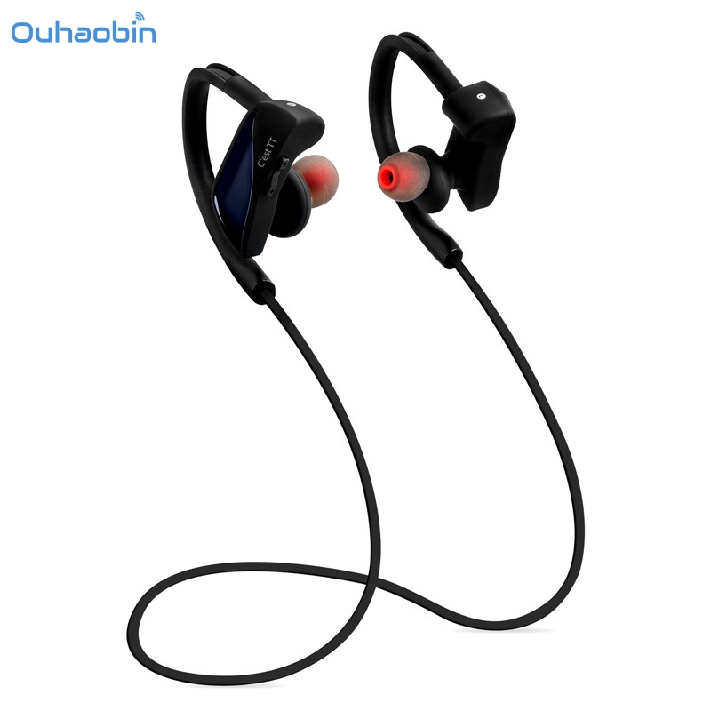 Ouhaobin Wireless Bluetooth Headset V4.1 Stereo Sports Earphone IP67 Waterproof 7 Hrs Playtime With Mic for Smartphones Sep19 bluetooth earphone mini wireless stereo earbud 6 hours playtime bluetooth headset with mic for iphone and android devices