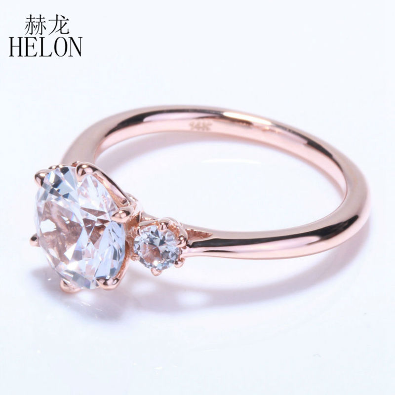 HELON SPECIAL!THREE STONE 2.4ct WHITE TOPAZ ROMANTIC ENGAGEMENT WEDDING FINE RING FOR WOMEN'S JEWELRY RING SOLID 14K ROSE GOLD