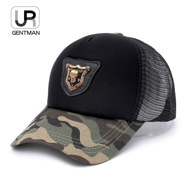 Urgentman  Breathable Metal Skull Camouflage Mesh Cap Baseball Cap Fashion  Snapback Dad Hat For Men Women Cap Hip Hop Sun Cap 557fa2a0b39
