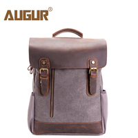 AUGUR Walkingtosky Men Vintage Leather Canvas Backpacks Bag School Rucksack for Travel Daypack for Men and Women