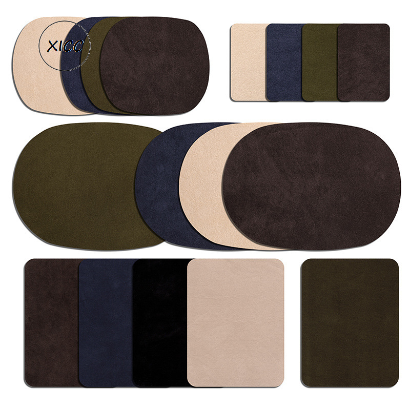 10Pcs Oval Shape PU Leather Patch For Jean Jackets Sewing Elbow Knee Patches Clothing Accessories