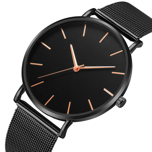 Montre Femme Modern Fashion Reloj Mujer Black Quartz Watch Women Mesh Stainless Steel Bracelet Casual Wrist Watch for Woman 1