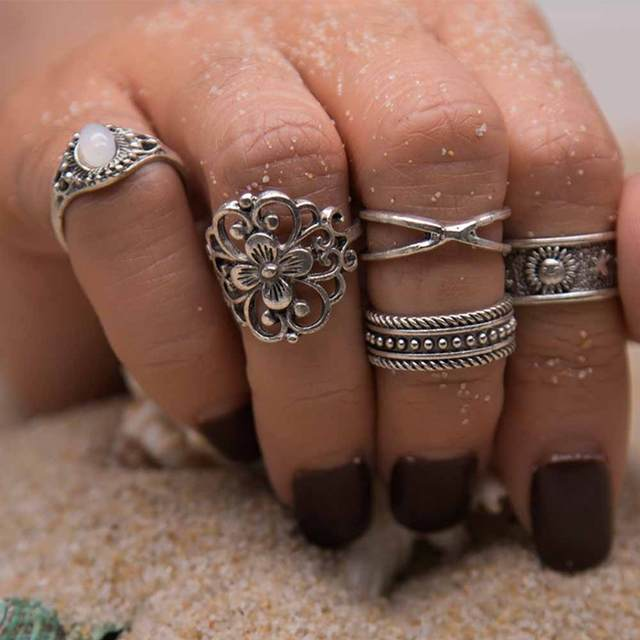 5 Pcs/Set Retro Carved Ring Bohemian Midi Ring Set Vintage Steampunk Anillos Knuckle Rings For Women Boho Jewelry