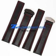En Fiber De carbone Bracelet fond est véritable en cuir rouge piqué 20mm 22mm noir montre accessoires bracelet bracelet de montre de bande