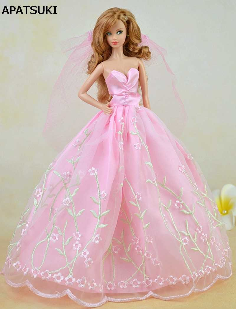 popular stores classic shoes undefeated x Pink Pretty Wedding Dress For Barbie Dolls Clothes Party Gown Long Dress +  Veil Lace Vestido Clothes For 1/6 BJD Doll Clothes
