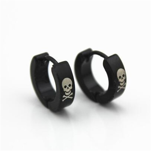 2017 Fashion Stainless Steel Stud Earrings Men Valentine S Day Gifts Whole Jewelry Black Skull