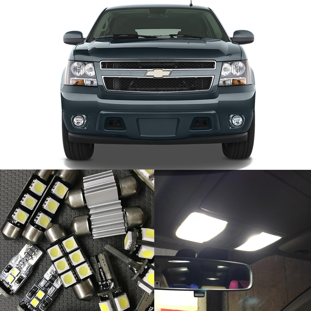 14pcs Auto Car LED Light Bulbs Interior Kit For Chevy Chevrolet <font><b>Tahoe</b></font> 2007-2014 6000K White Map Dome Trunk License Plate light image