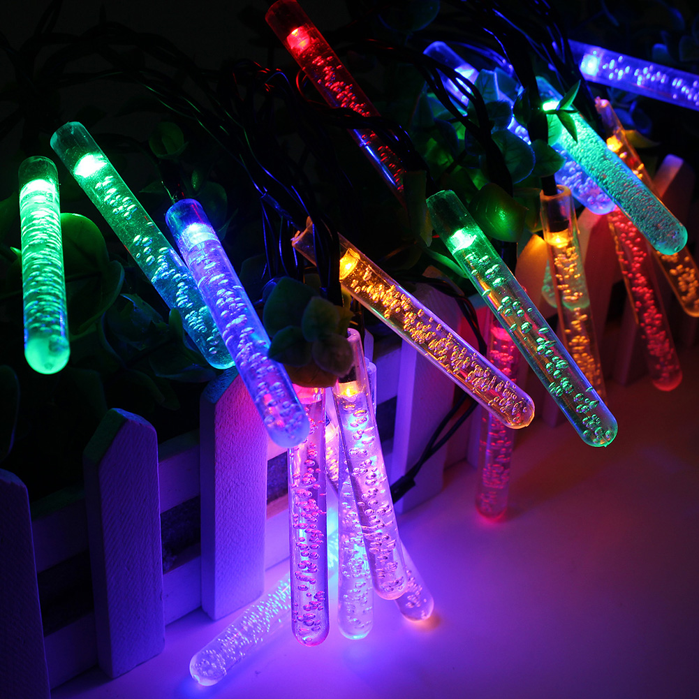 20 Leds Ice Piton Shape LED Solar Garden String Lights Christmas Xmas Party Decorations Waterproof Solar Powered LED Lamp 3.5 M