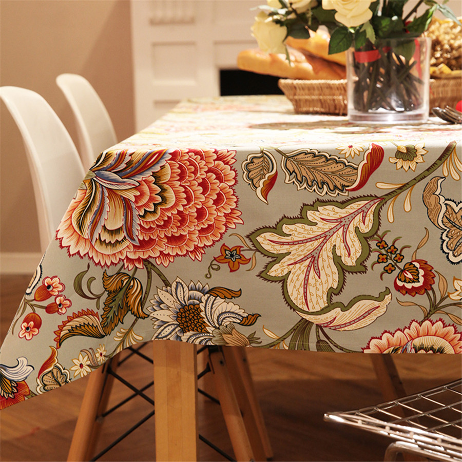 Pastoral Style Woven Floral Print Tablecloth Home Decor
