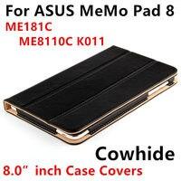 Case koeienhuid voor asus memo pad 8 beschermende smart cover lederen tablet voor memopad me181c me8110c k011protector mouw