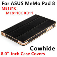 Case Cowhide For ASUS MeMo Pad 8 Protective Smart cover Genuine Leather Tablet For MeMoPad ME181C ME8110C K011Protector Sleeve