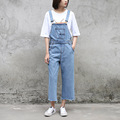 2017 New Arrivals Women Denim Jumpsuits Ankle Length Preppy Style Overalls Casual Slim Cowboy Denim Suspender Trousers