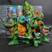 4pcs/lot Turtles anime figure Michelangelo Donatello Leonardo Raphael dolls Hands and feet can move handmade Toys