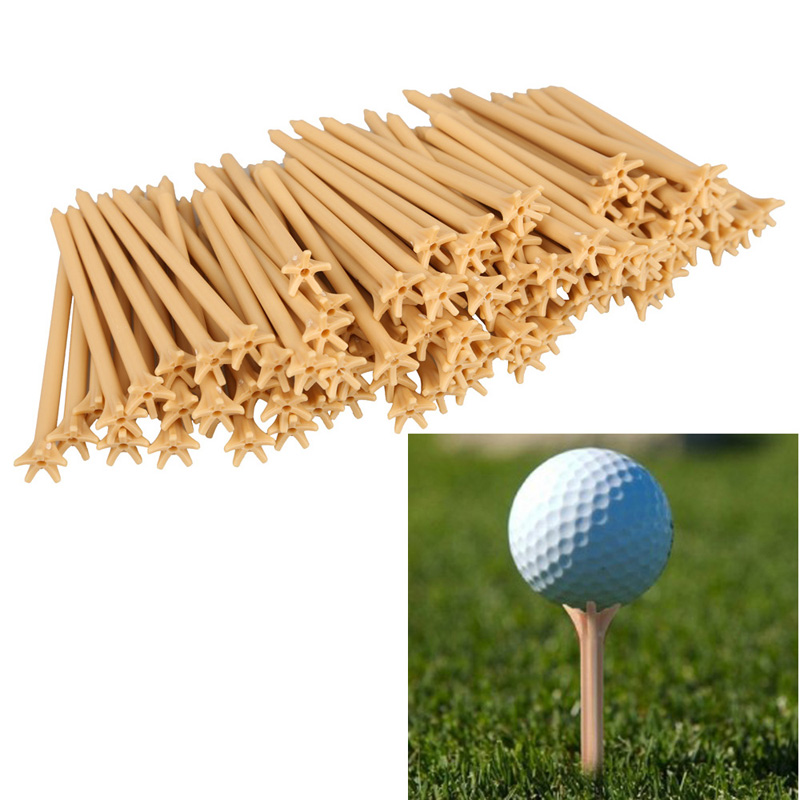 100Pcs/Pack Professional Frictionless Golf Tee Light-weight Five-prong Top 83mm Golf Training Tee Set Wheat Color