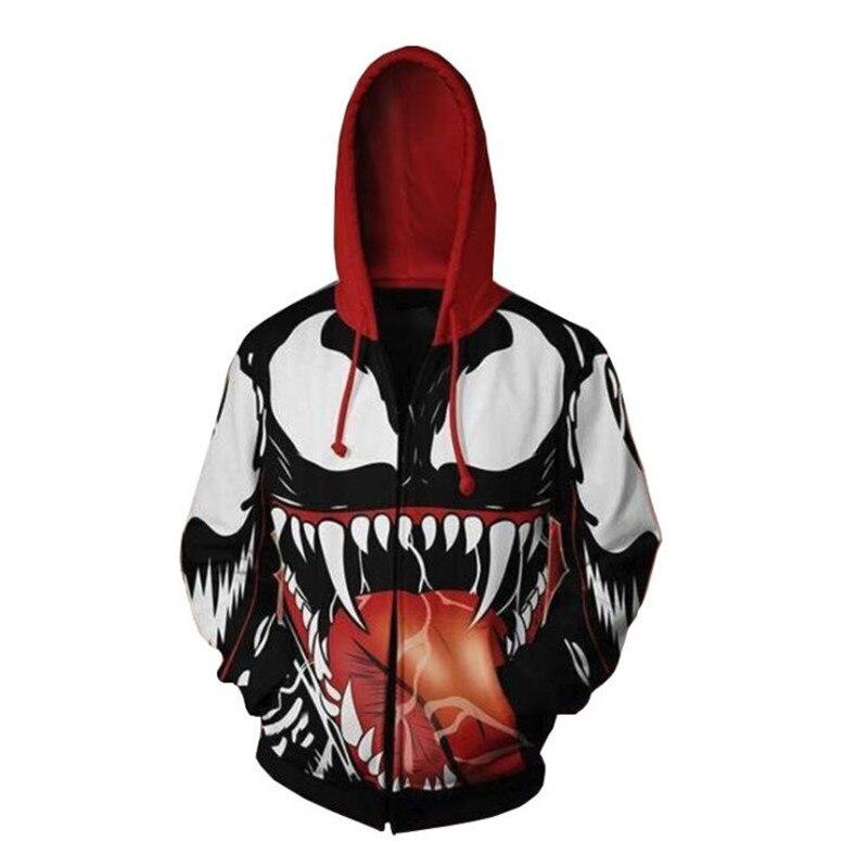 Men Clothing Super Hero Movie The Avengers Spider Man Venom Cosplay Hoodies 3D Printing Sleeve Zippers Sweatshirts Coat Fashion