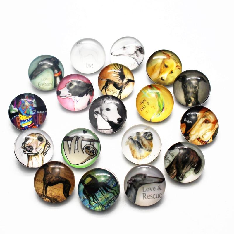 New Arrival 10pcs/lot Love Galgo Pattern Snap Button Dog Animal Glass Snap Buttons Fit 18mm DIY Snap Bracelet Jewelry