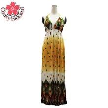 Women Summer Dress 2015 M-6XL Plus Size Maxi Beach Dress For Vacation V-neck Cami Bohemian Dresses Women Long Peacock Dresses