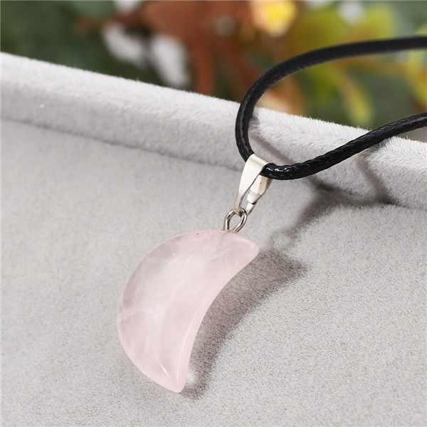 Gorąca sprzedaży PU skóra naszyjnik łańcuch kobiet księżyc kształt kamień naturalny różowy marmur naszyjnik
