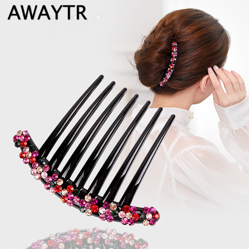 AWAYTR Korean Rhinestone Hairpin for Women Hair Comb Flower Ladies Seven-teeth Hair Clip   Headwear   Girls Hair Accessories