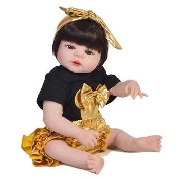 Realistic Bebe Bonecas Reborn Girl Dolls For Sale Fashion Full Silicone Vinyl Baby Doll 23 inch  poupee enfant  Bebe Doll Rebon