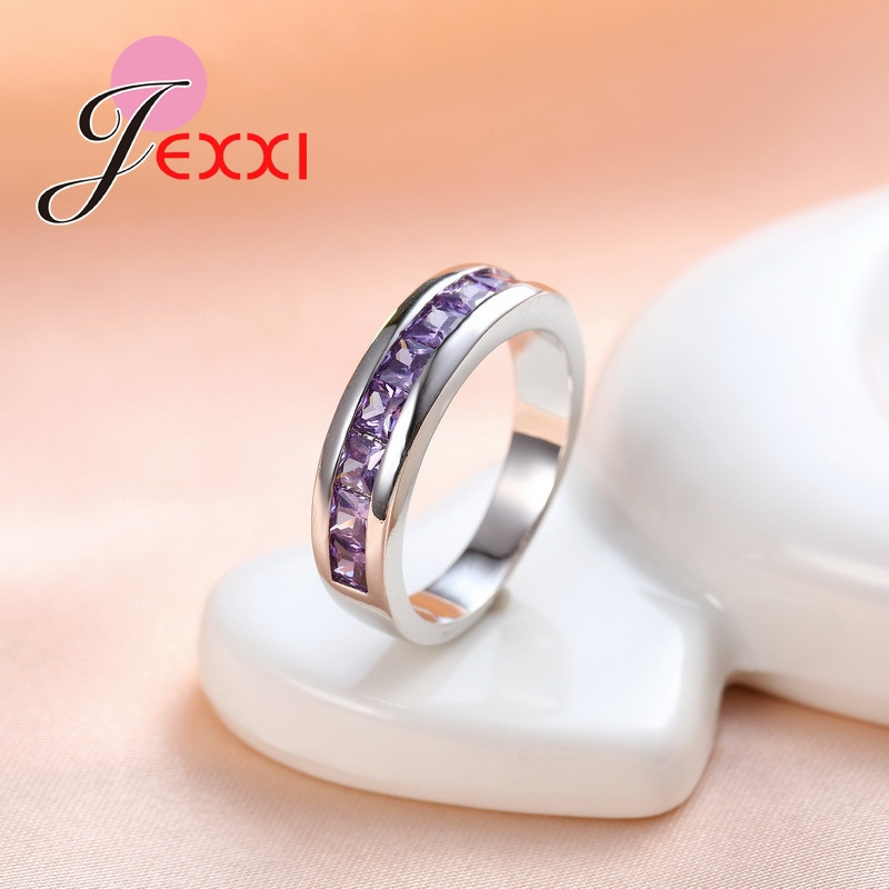 YAAMELI Fashion Luxury Purple Zircon CZ Crystal Rings For Women Wedding Engagement 925 Stamp Sterling Silver Love Promise Rings