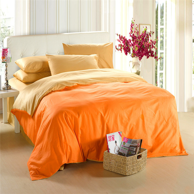Yellow orange bedding set King size queen quilt doona duvet cover double  bed sheets linen bedsheet bedspreads solid 100% cotton 9fa6c912c77b