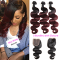 10A Malaysian Virgin Hair With Closure Malaysian Body Wave 3 Bundles with Lace Closure 1B/99J Burgundy Ombre Hair with Closure