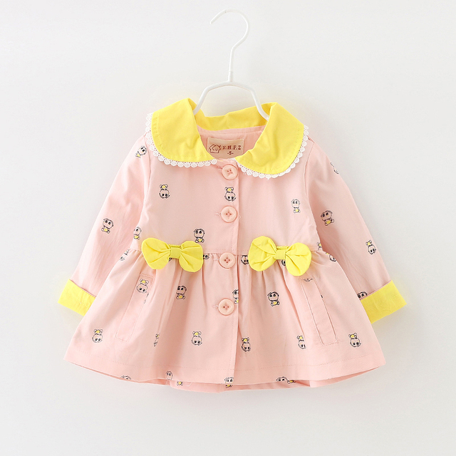 Girls cartoon figures trench coat the new2016 children aged 0-2spring and autumn coat pure cotton cardigan female baby dust coat