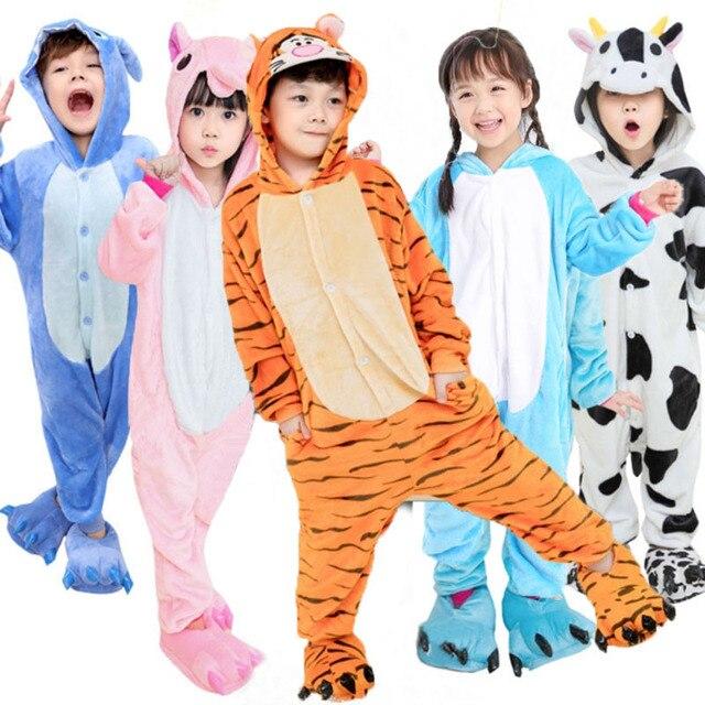 331b548e5 New Kids Panda Kigurumi Animal Unicorn Onesie Flannel Pajamas Boys ...