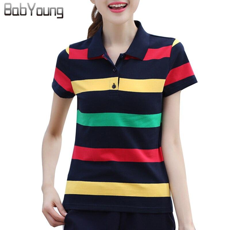 e5d0337d67 BabYoung 2017 Mulheres Verão Camisas Polo Plus Size 6XL Algodão tarja de  Cor Hit de manga Curta Encabeça Fino Respirável Camiseta Femme
