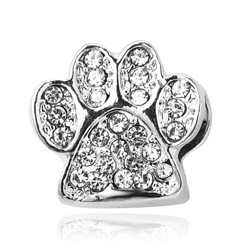 Free Shipping 1PC Silver Beads Clear Crystal Dog Paw Charms fit European Pandora Charm pulseiras Bracelets & Bangles