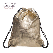 Aosbos PU Leather Drawstring Bag for Shoes Men Women Sport Gym Bag Outdoor Drawstring Backpack for Fitness Shoes Swimming Bags
