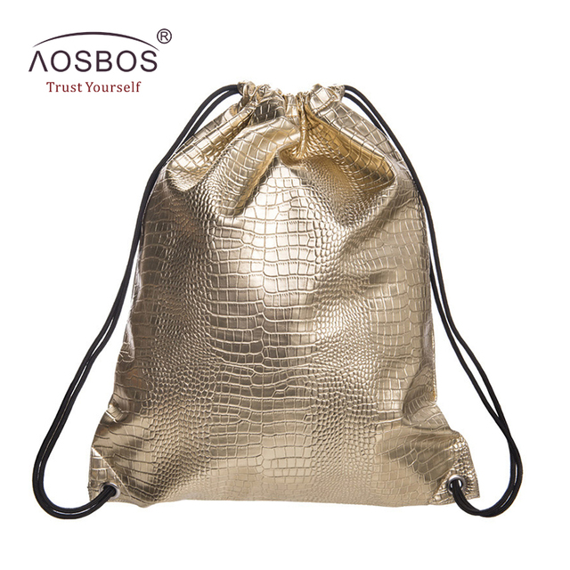 Aosbos PU Leather Drawstring Bag for Shoes Men Women Sport Gym Bag Outdoor  Drawstring Backpack for Fitness Shoes Swimming Bags 7c521091a4