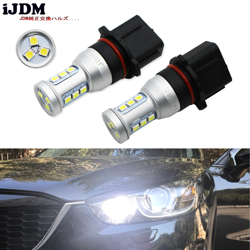 iJDM Auto Error Free Canbus 12-SMD-3030 P13W SH24W PSX26W LED Bulbs For Mazda CX-5 Daytime Running Lights 12V White Red Yellow
