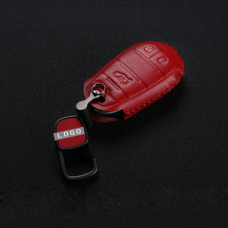 2017 2018 Fetal Leather Smart Key Fob Case For Car Red For