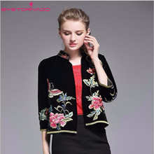 Women autumn jacket Chinese style Ethnic flower embroidery short velvet jacket baseball biker jackets casaco plus size 8751