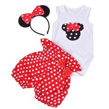 Baby 1st Birthday Polka Dot Outfits Mickey Bodysuit Shorts Headband 3PCS 1-2 Year Party Toddler Christening Gown Clothing(China)